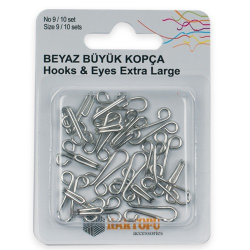 HOOKS AND EYES/EXTRA LARGE SILVER No9 - K007.1.0031