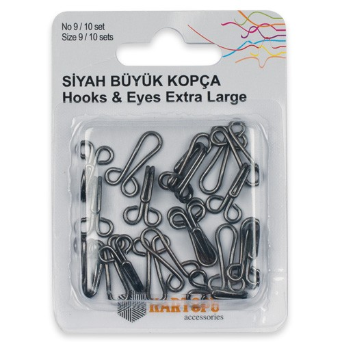 HOOKS AND EYES/EXTRA LARGE BLACK No9 - K007.1.0032