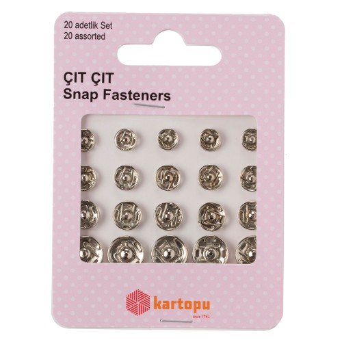 Snap Fastener Nickel Asst 20sets - K007.1.0018